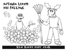 Blue Bucks fall leaves coloring sheet image
