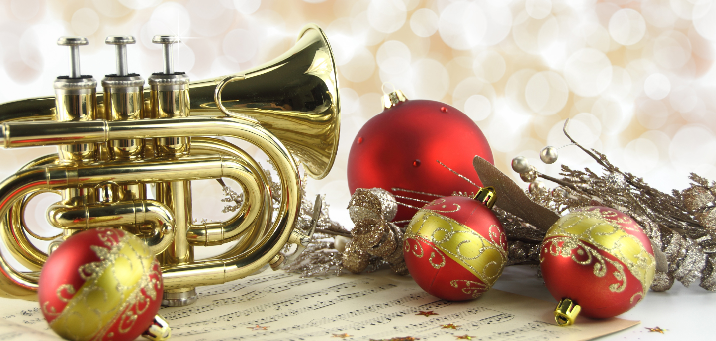 trumpet and christmas ornaments image
