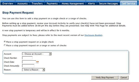 Stop Payment Screenshot 1