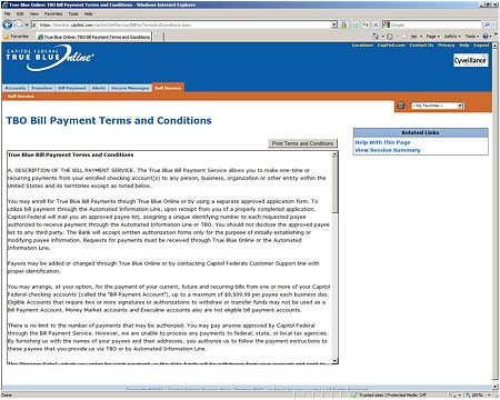 Online Bill Payment Terms and Conditions Image